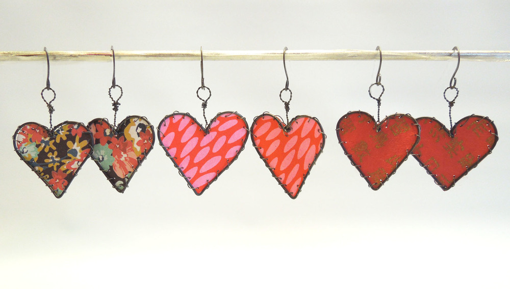 Paper and Wire Heart Earrings - annealed steel, papers