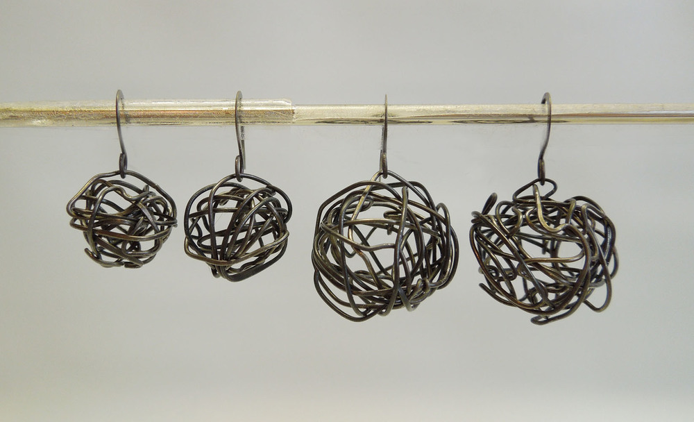 Hammered Ball Earrings- stainless steel or annealed steel