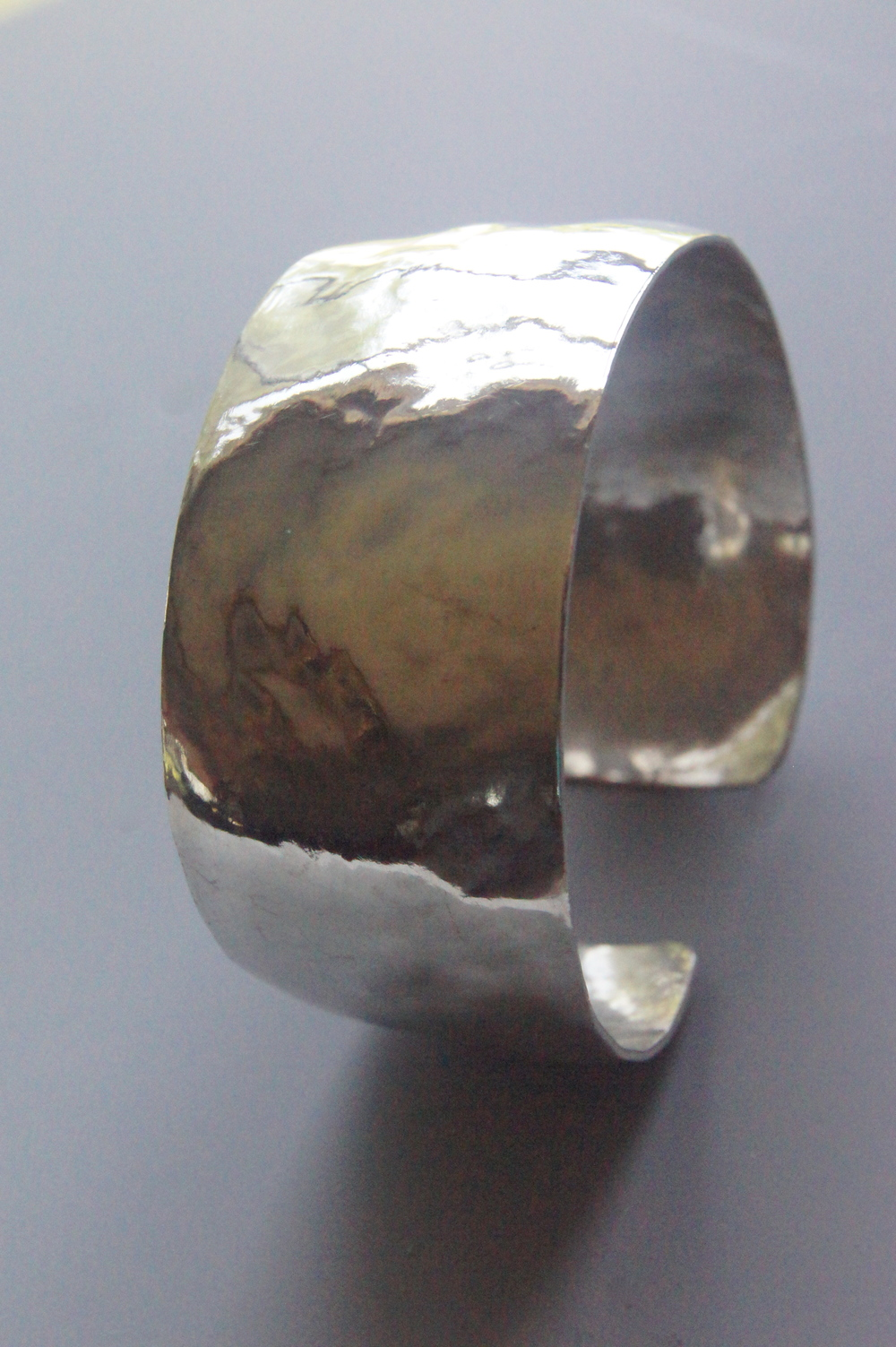 Hammered, Domed, Sterling Silver Cuff