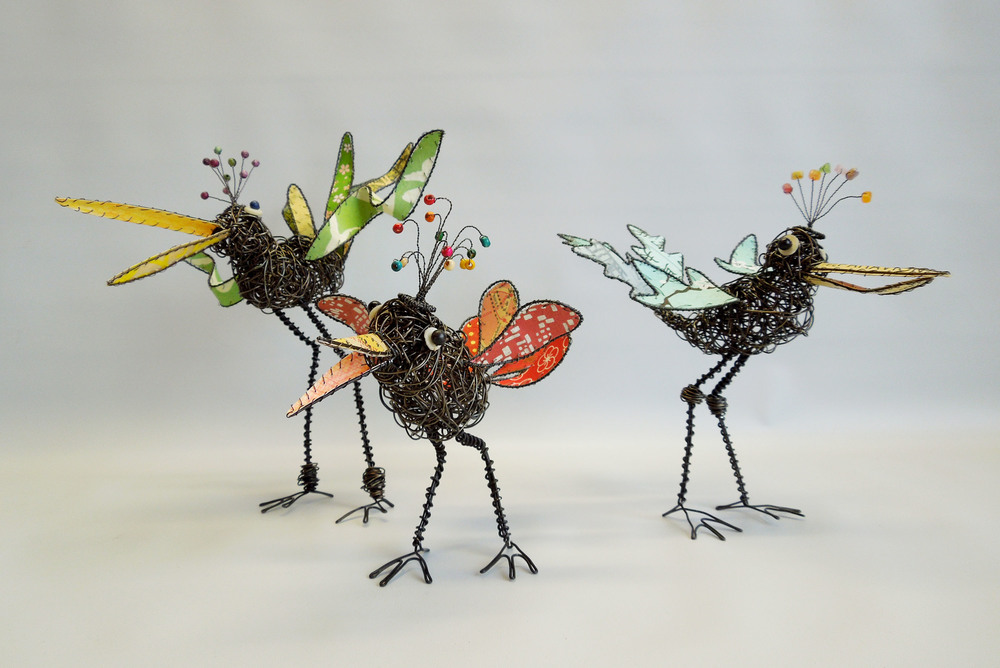 Birds, various sizes, annealed steal, papers