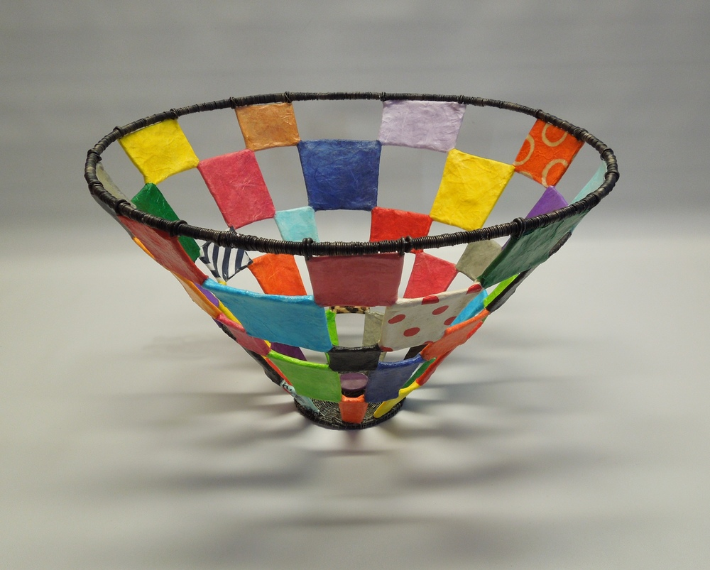 Checkers Basket, annealed steel, papers