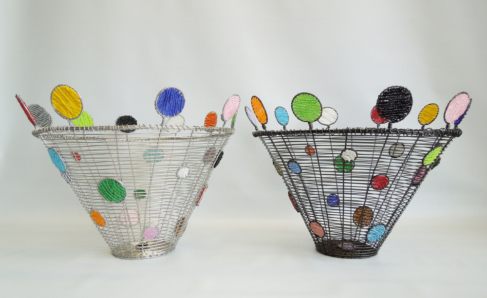 Dot to Dot Baskets, stainless or annealed steel, glass beads