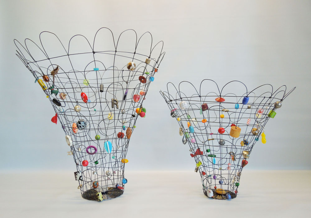 Rhythm Baskets- annealed steel, found objects