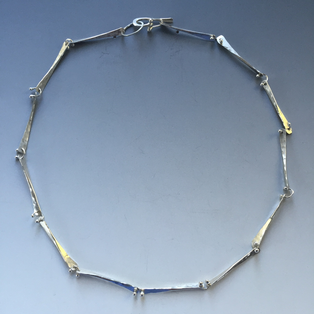 Argentium Silver, Hammered & Fused Necklace, from 'Berries & Twigs' Collection