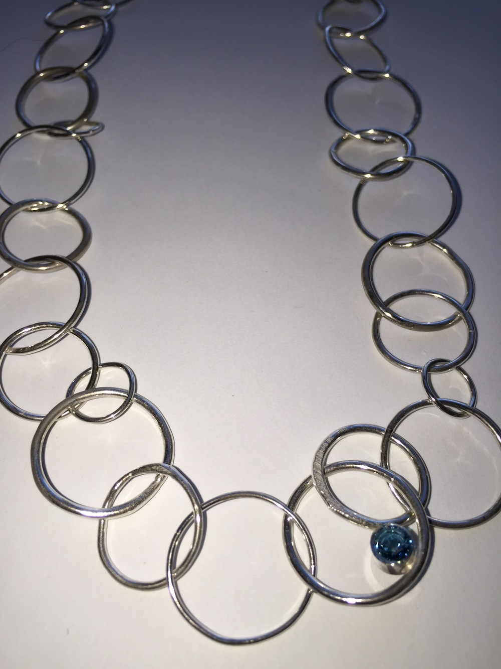 Hammered & Fused Argentium Silver Chain Necklace w/ blue Topaz, from 'Chain' Collection