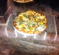 A lil taste of fall...pizza with white sauce, squash, sage, caramelized onions, goat cheese and mozzarella!