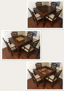 Reversible Dark Wood Dining Room Game Table W 4 Matching Chairs