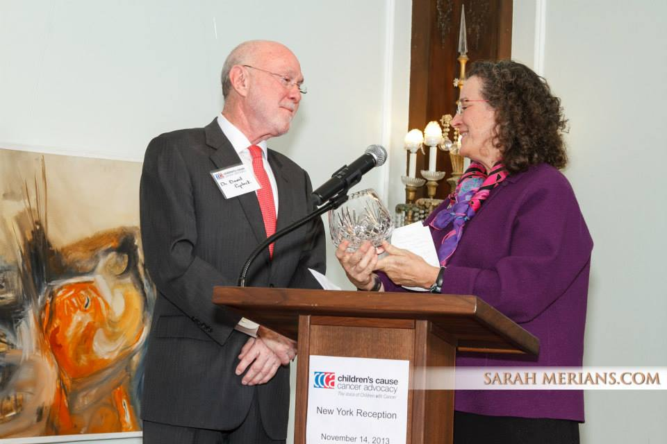 Dr. David Poplack with Board Chair Elizabeth Goss in 2013