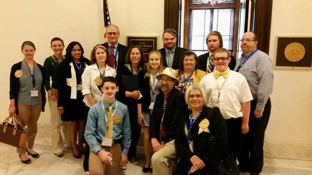 Stacie, left, and Ethan, front, with the rest of the Pennsylvania delegation at Action Day 2016