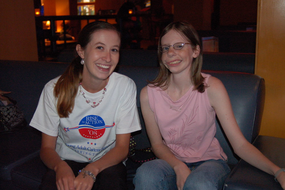 2008, at a CCCA event: Me and my friend Kim, a childhood cancer survivor.
