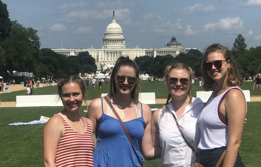 "Our intern Nicole with her three roommates on the National Mall on the Fourth of July. ""Yes, it is true. We have double bunk beds!"" says Nicole."