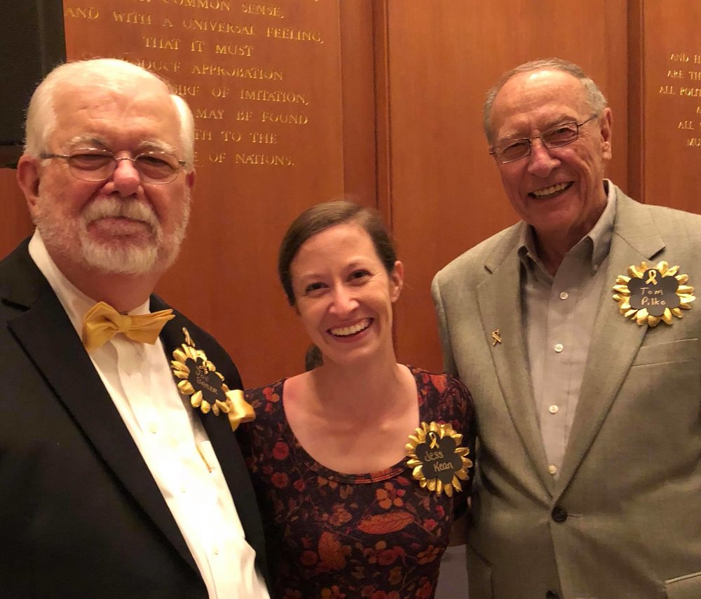 CCCA's Communications Director Jess Kean with Grandparents In Action founding members Joe Baber and Tom Pilko, at The Golden Toast.
