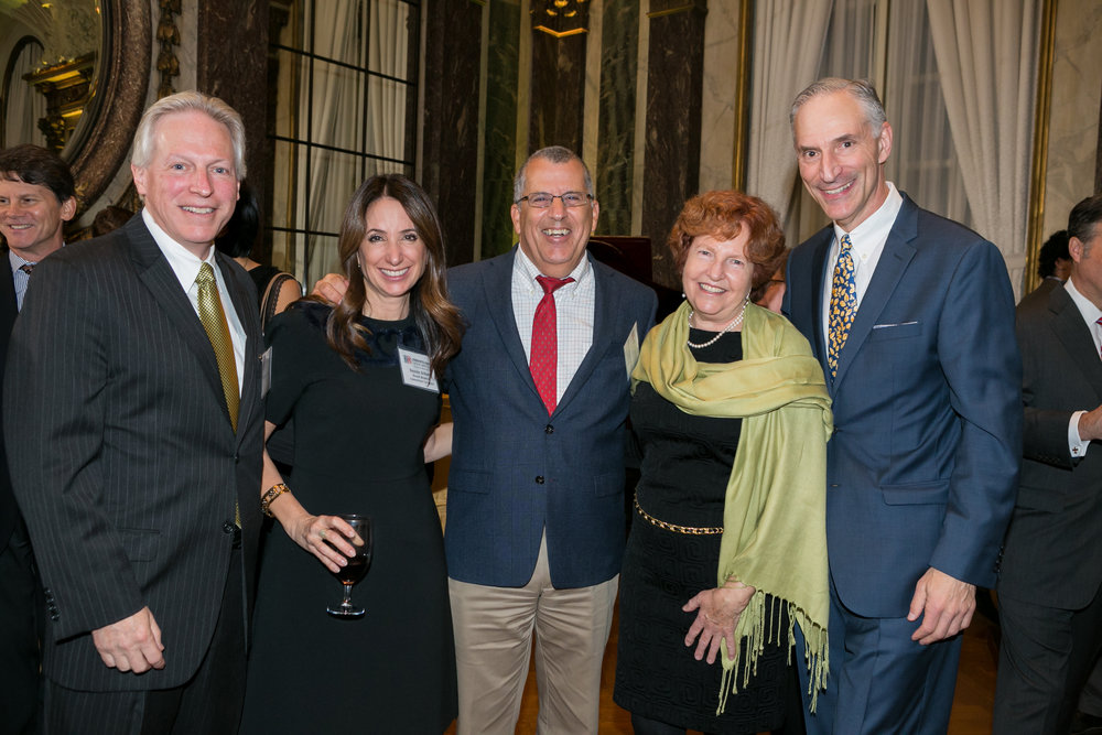 (left-right)  George Dahlman , CCCA Executive Director;  Susan Scherr , Board Member and New York Event co-chair;  Dr. Peter Adamson , Honored Speaker;  Dr. Julia Rowland , Rosen Award Recipient;  Adam Rosen , Board Member