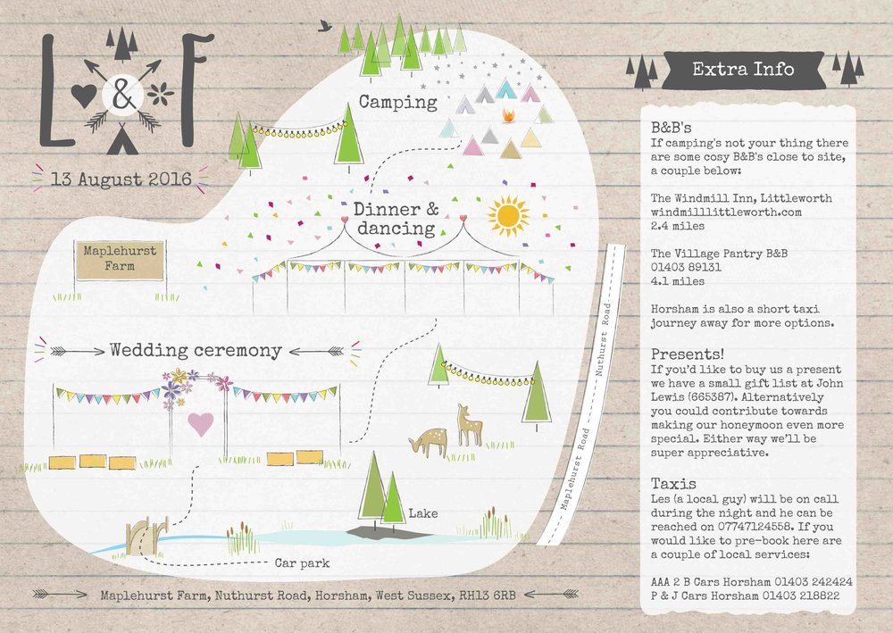 Bespoke illustrated map for invite