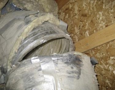 Ripped duct in the attic