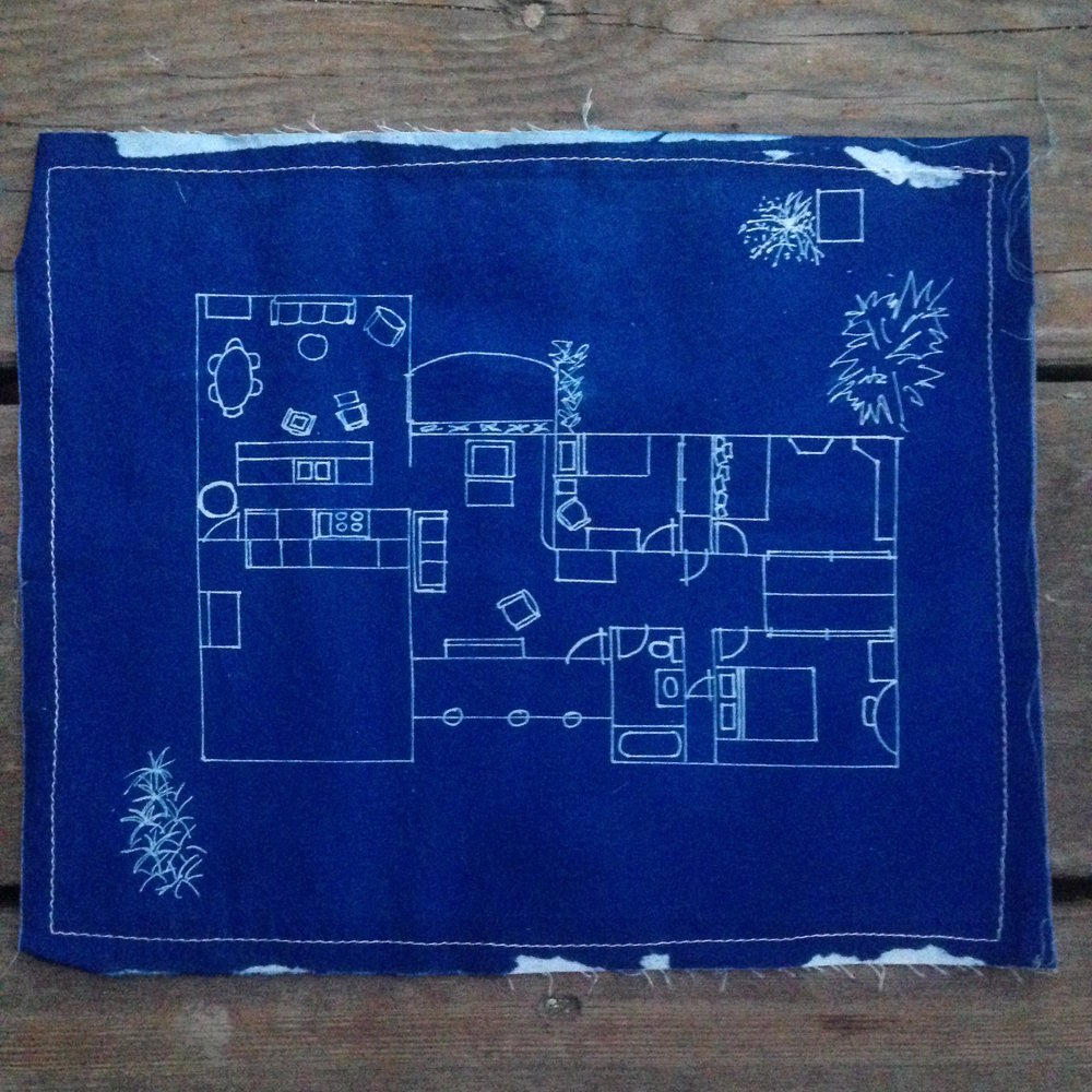 Dorothy's house //  cyanotype on linen, 2008