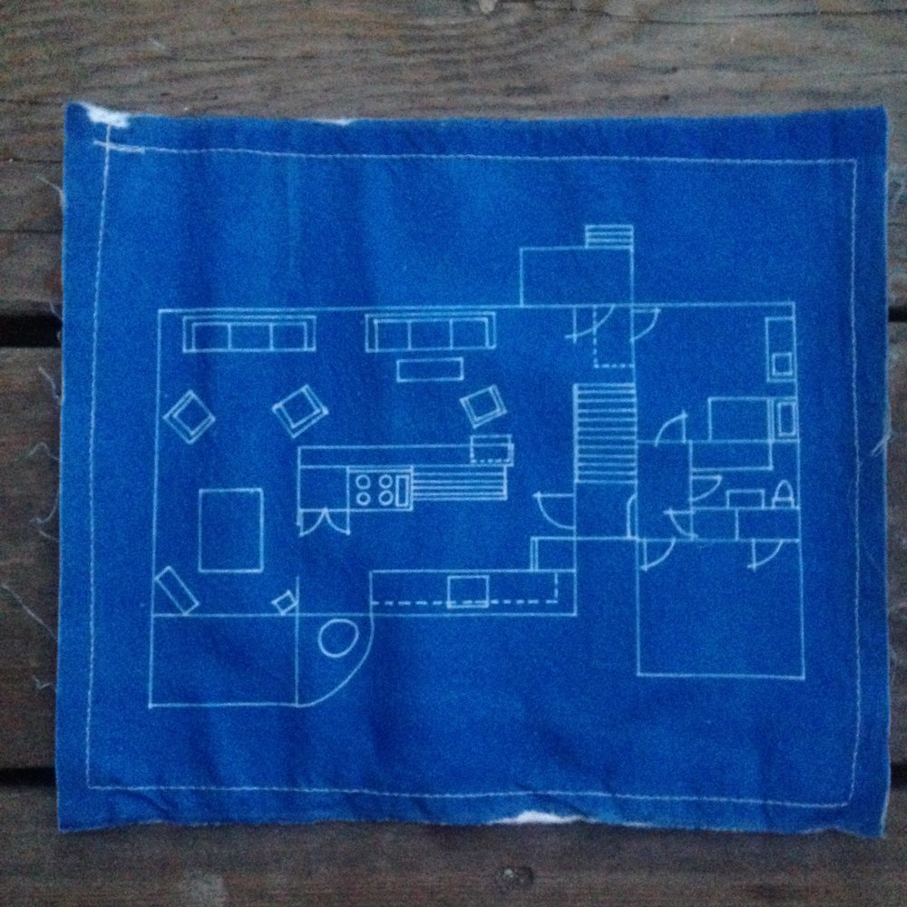 Jesse's house //  cyanotype on linen, 2008