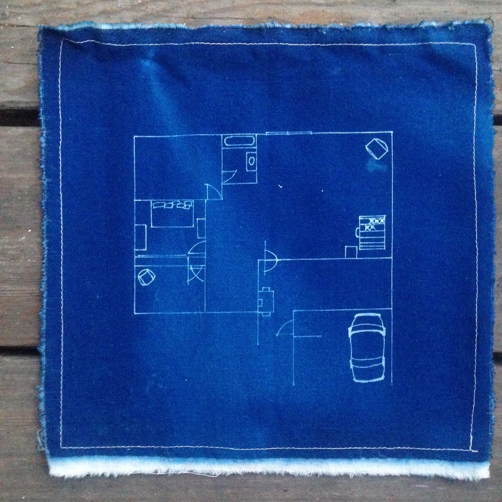 Alison's house //  cyanotype on linen, 2008
