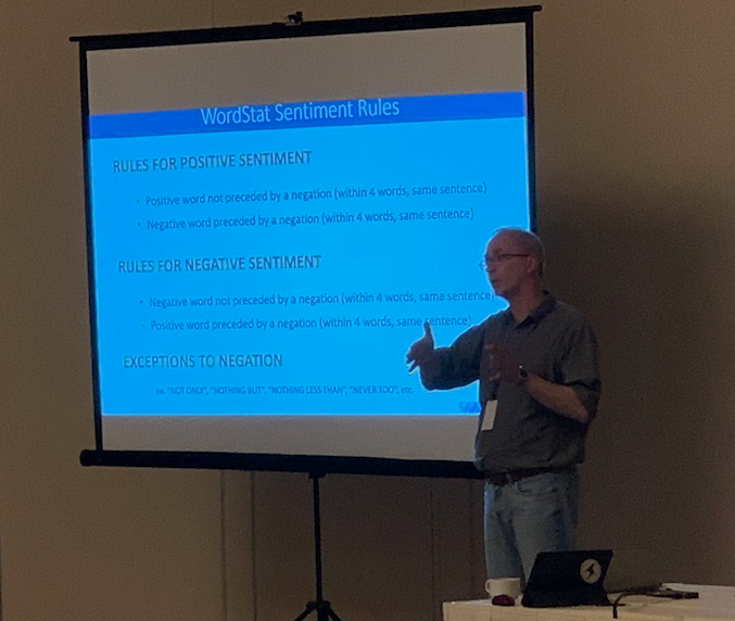Pictured: Dr. Normand Peladeau during the annual HICSS tutorial on text mining opportunities and challenges in big data analytics.