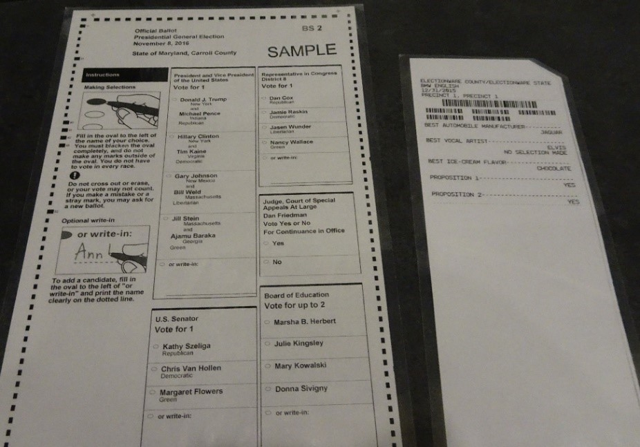 Maryland' standard voting ballot beside the ballot for persons with disabilities.
