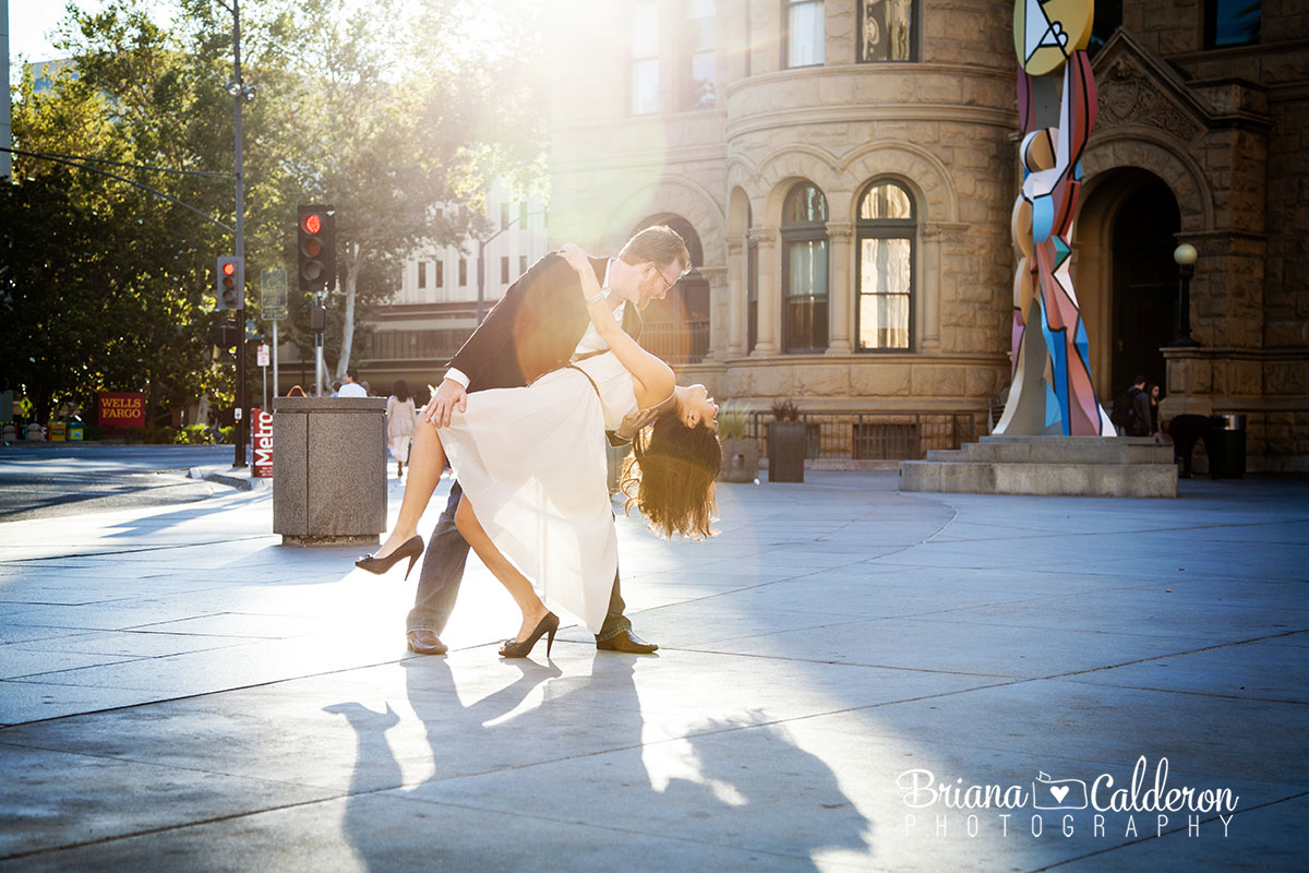 Engagement photo shoot in downtown San Jose, CA.  Photos by Briana Calderon Photography based in the San Francisco Bay Area.