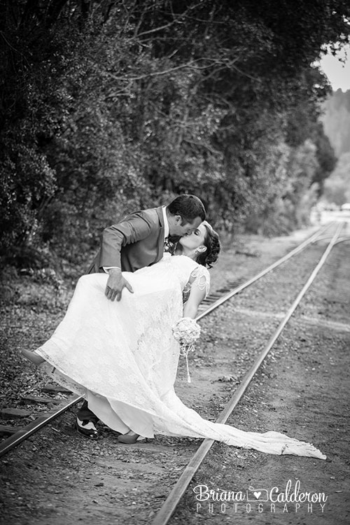 Wedding pictures at Roaring Camp Railroads in Felton, CA.  Photos by Briana Calderon Photography based in the San Francisco Bay Area.