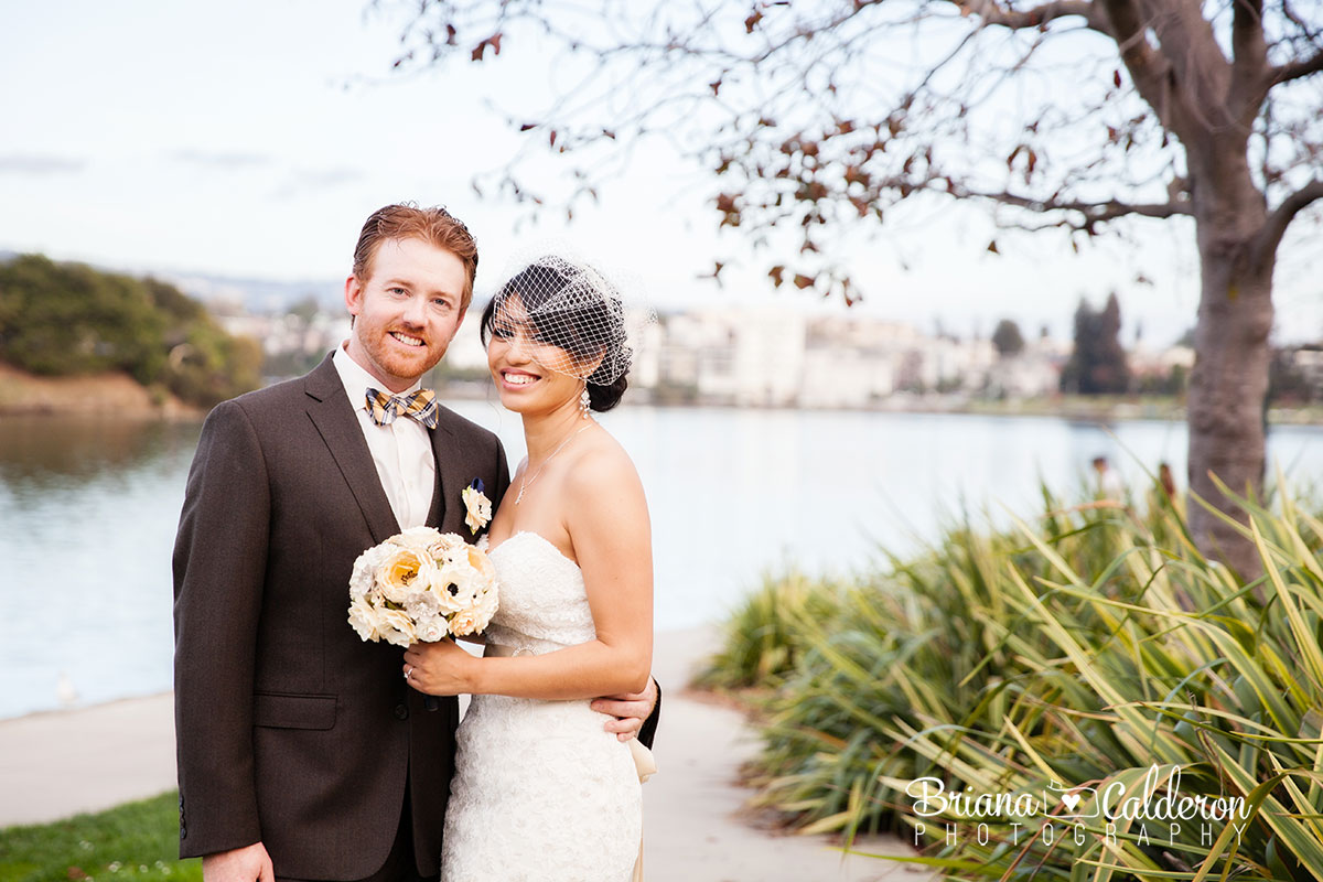 Wedding pictures at Lake Merritt and The Terrace Room in Oakland, California.  Photos by Briana Calderon Photography based in the San Francisco Bay Area.