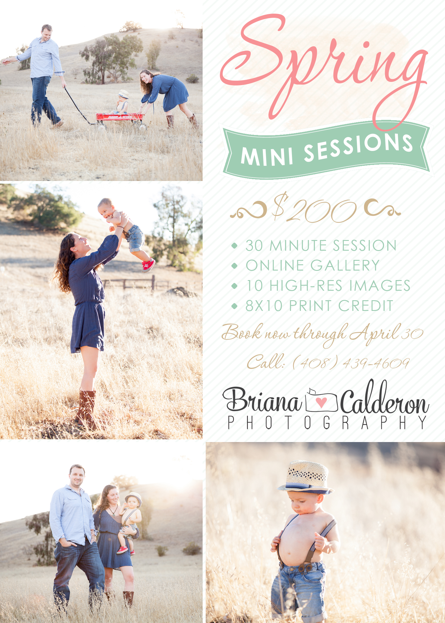 Spring 2015 Mini sessions offered till April 30th by Briana Calderon Photography based in the San Francisco Bay Area.
