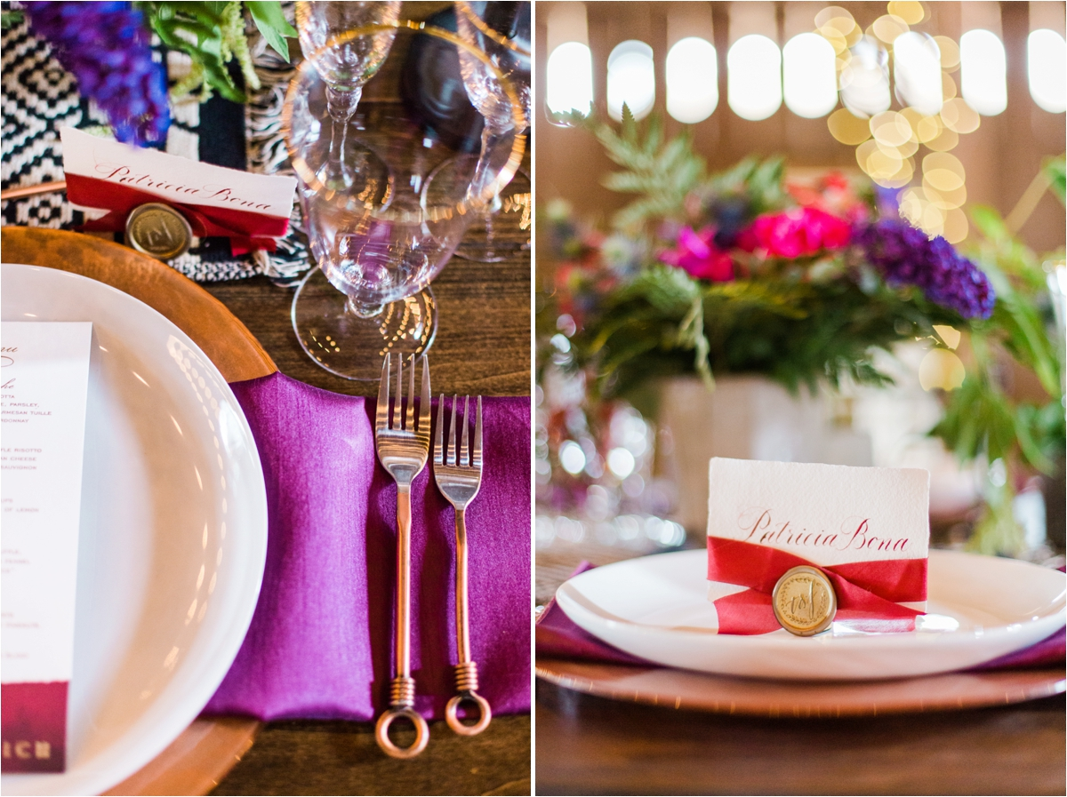 Geometric shapes, pops of purple and gold wedding inspiration at Reinstein Ranch in Livermore, CA. Photos by Briana Calderon Photography based in the San Francisco Bay Area in California.