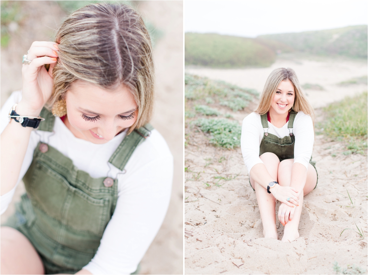 High school senior portrait shoot at Four Mile Beach in Santa Cruz, CA. Photos by Briana Calderon Photography based in the San Francisco Bay Area in California.
