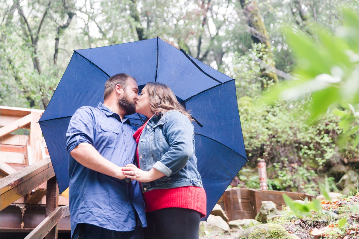 Rainy engagement shoot at Uvas Canyon County Park in Morgan Hill, CA. Photos by Briana Calderon Photography based in the San Francisco Bay Area in California.