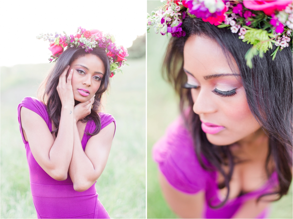 Floral spring inspiration shoot with Amanda Espinoza Make Up and modeling by Michelle Franklin at Spring Valley Pond in Milpitas, CA. Photos by Briana Calderon Photography based in the San Francisco Bay Area in California.
