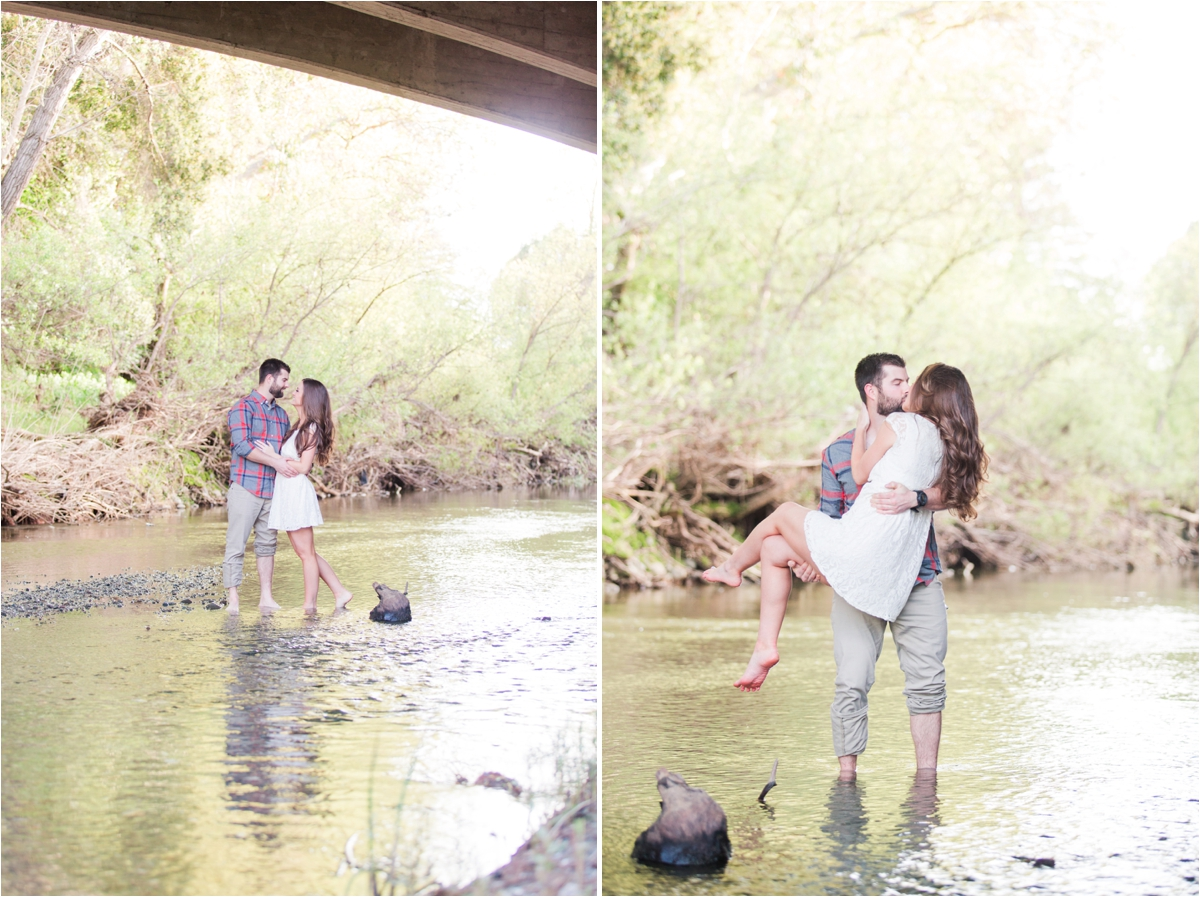 Creek engagement shoot in downtown Sunol, CA. Photos by Briana Calderon Photography based in San Francisco Bay Area in California.