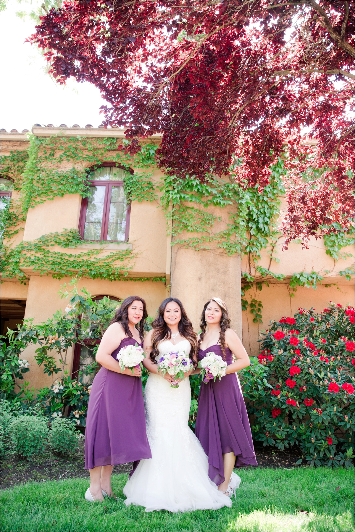 Purple bridesmaid dress vineyard wedding photos from Vintner's Inn in Santa Rosa, CA. Pictures by Briana Calderon Photography based in the San Francisco Bay Area in California.