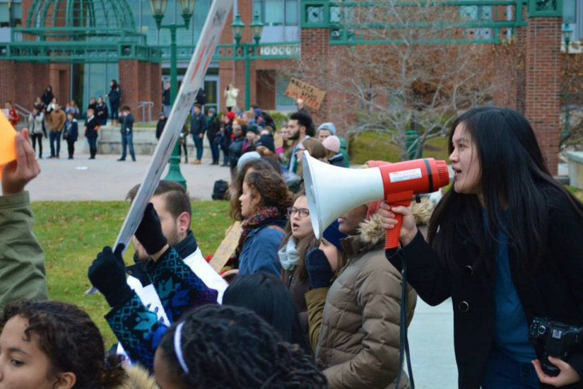 Leading chants at a Black Lives Matter rally at SUNY Geneseo in December 2014. Photo Credit: Jason Phillips.