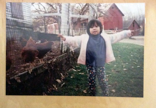 A three year old Helena, expressing herself in rural New York. At this age she thought she was going to be an Olympic figure skater, not an activist!