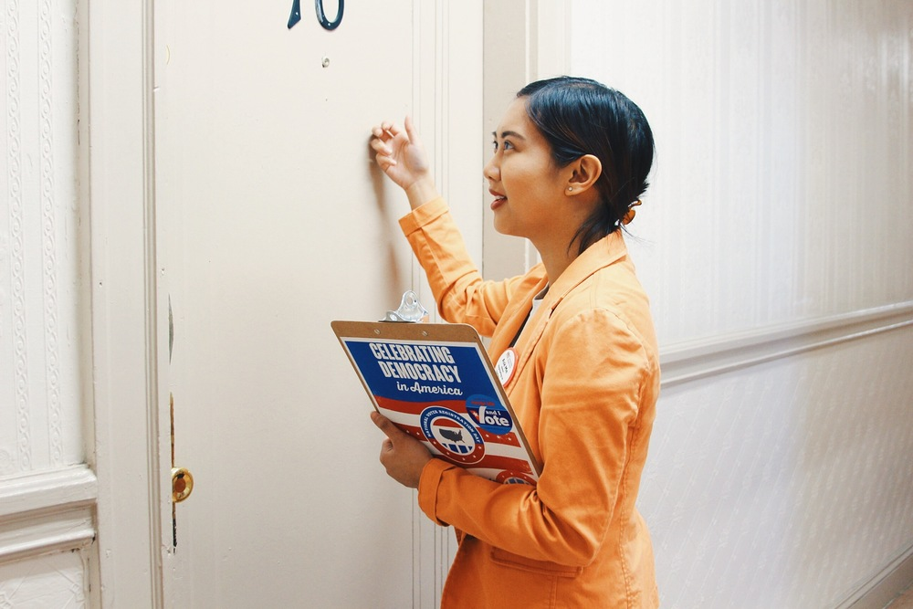 Helena in her natural habitat, canvassing to register voters!