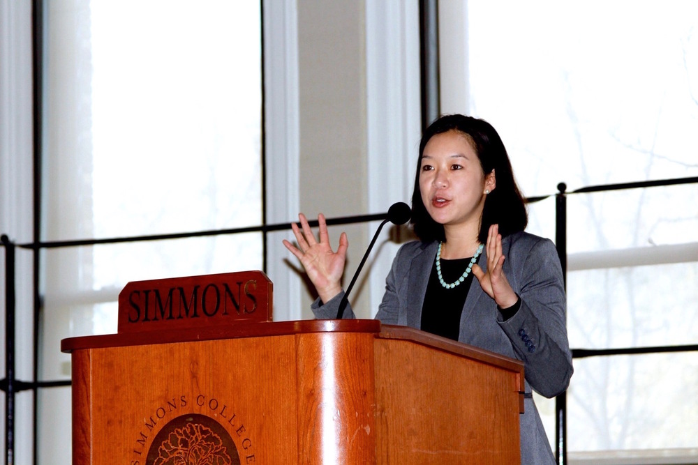 Diana Hwang, talking through her journey of being an Asian American woman politician in Boston. Photo cred: Alisha Morales