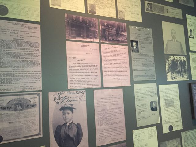 A wall of Chinese immigration documents