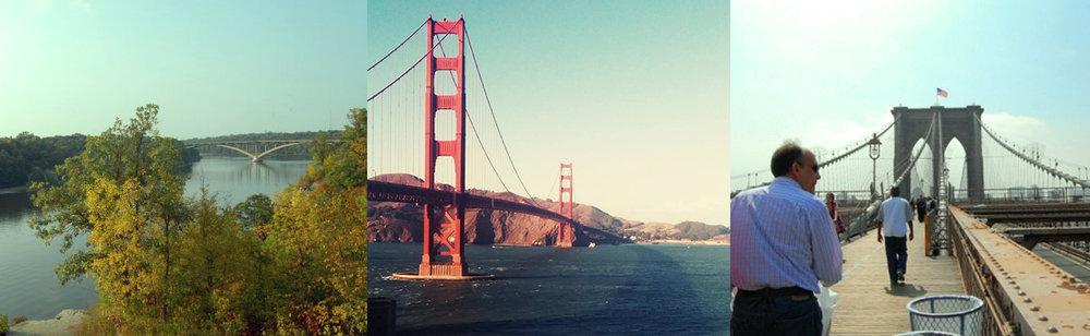 View of the bridge: Three iconic bridges from three of my temporary homes:Lake Street Bridge (Minneapolis, MN), Golden Gate Bridge (San Francisco, CA), Brooklyn Bridge (New York City, NY)