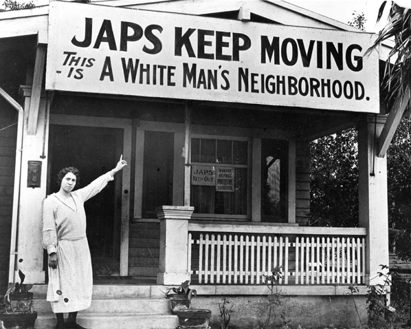 "When Japanese Americans began moving to Hollywood in the 1920's, white Americans formed a campaign to ""keep Hollywood white."" Source: National Japanese American Historical Society"
