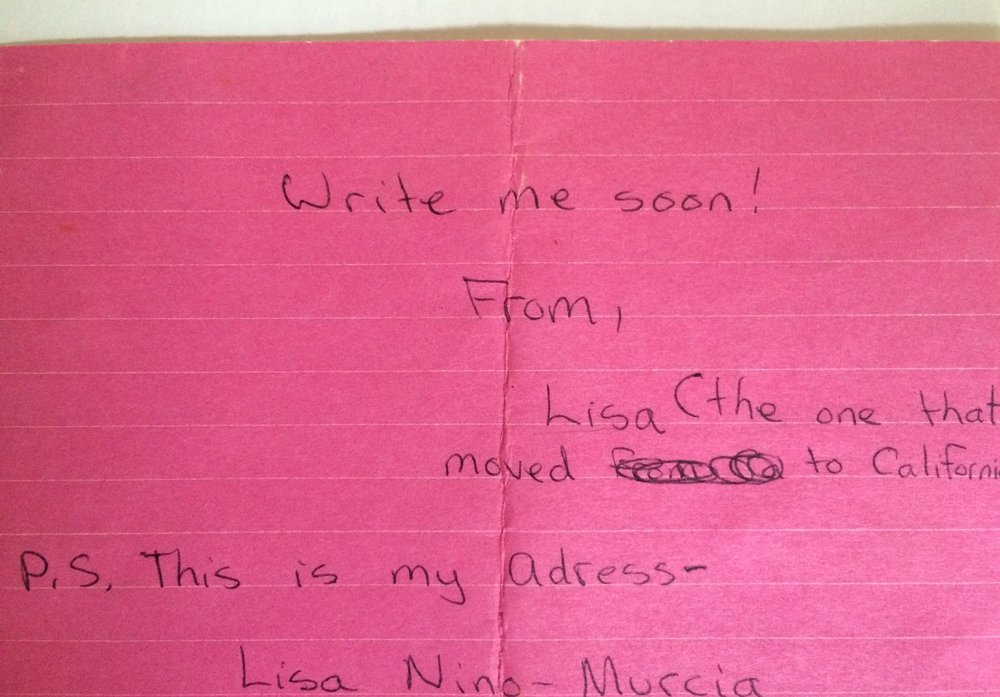 Letters From Lisa… The One That Moved To California... We Remember...