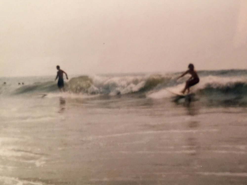 Sharing a wave with Joe Pappano, 51st Street, OCNJ, 8/9/95