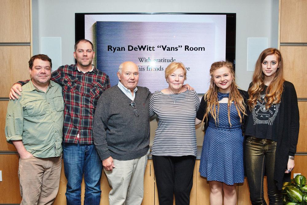 "The DeWitt Family at Berklee College of Music in Boston for the Ryan DeWitt ""Van's""Room dorm dedication"