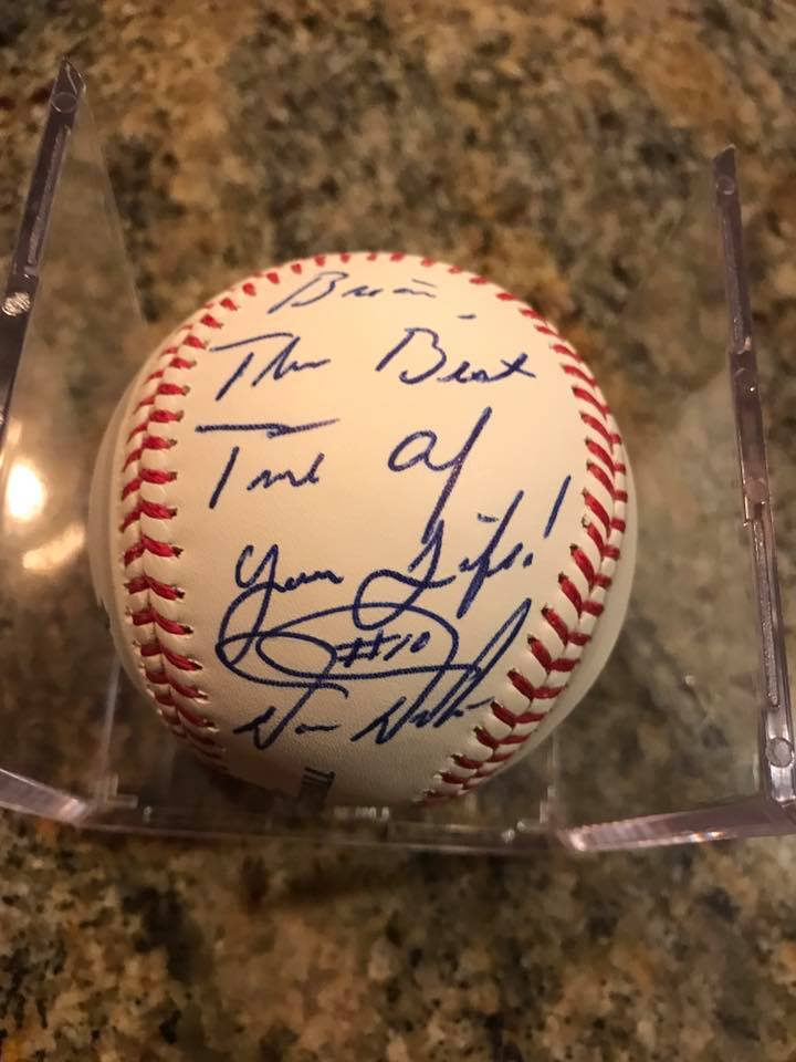 Younger Bulldawg Brethren Brian Hicks' Dutch-autographed baseball, following a Bachelor Party Weekend spent with #10.