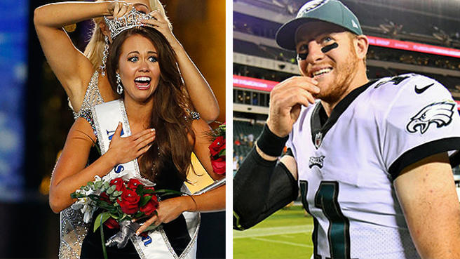 Don't care about the Miss America Pageant, but if the winner is a girl from Bismark HS who went to school with Wentz + references him in her acceptance speech?!? Then we're glad she won, and we can officially start wondering whether there was something in the wudder, during that time and place, in the capital of North Dakota.