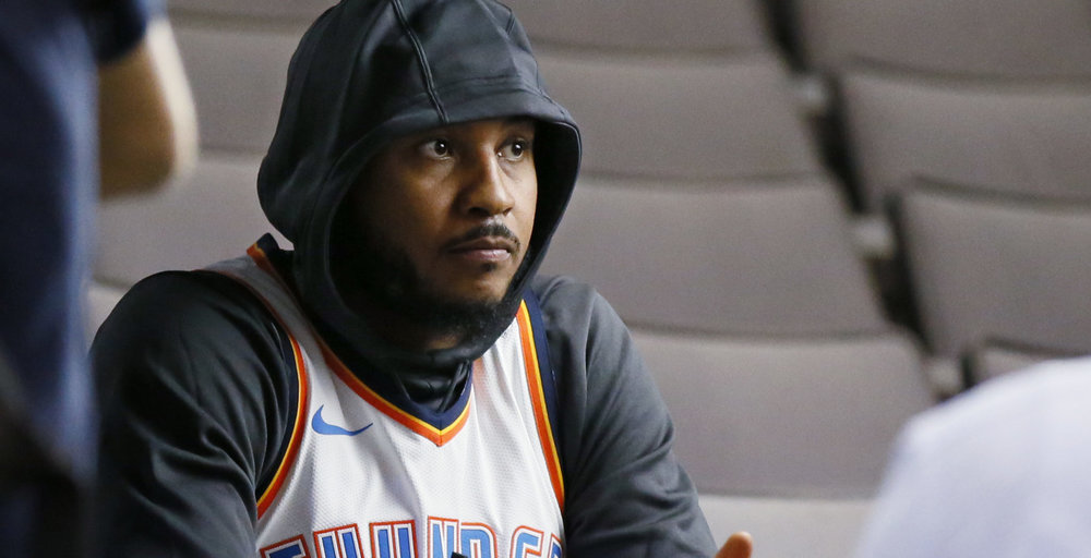 Hoodie Melo is not amused at how far his stock has fallen.
