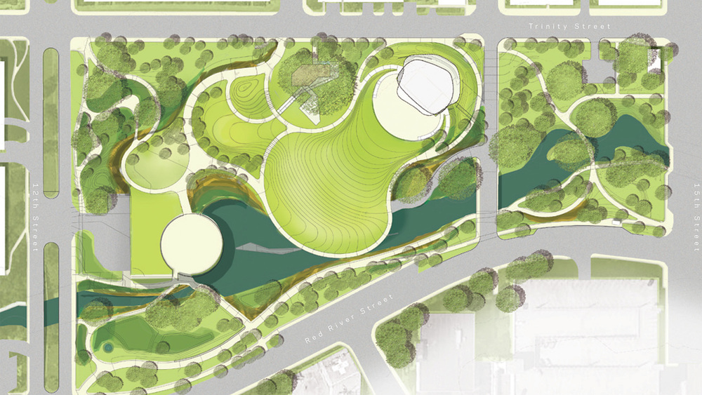 The new Waterloo Park design, as envisioned by landscape architecture firms Michael Van Valkenburgh Associates, Inc. and Thomas Phifer & Partners. Photo from www.wallercreek.org.