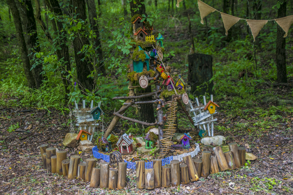 One of the many fairy gardens on display as part of the Zilker Botanical Garden's 4th Annual Woodland Faerie Trail. Photo by Maria Sprow.