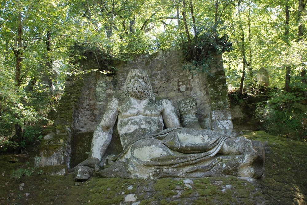 A statue of the God Neptune located in the Park of Monsters. Photo from Wikimedia/Creative Commons license.